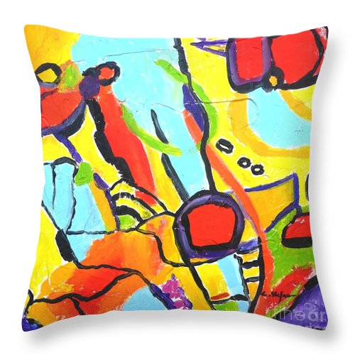 Abstract Throw Pillow featuring the painting Birds On A Wire by Cristina Stefan