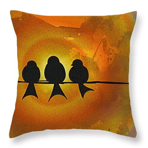 Birds Throw Pillow featuring the digital art Birds On A Wire by Kiki Art