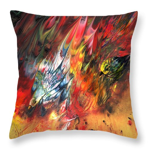 Animals Throw Pillow featuring the painting Birds On Fire by Miki De Goodaboom