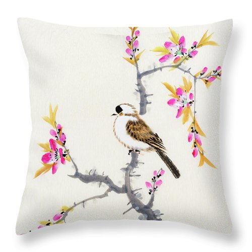 Chinese Culture Throw Pillow featuring the digital art Birds by Vii-photo