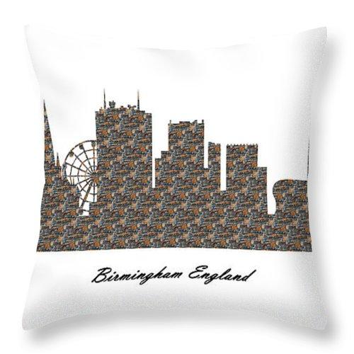Fine Art Throw Pillow featuring the digital art Birmingham England 3d Stone Wall Skyline by Gregory Murray