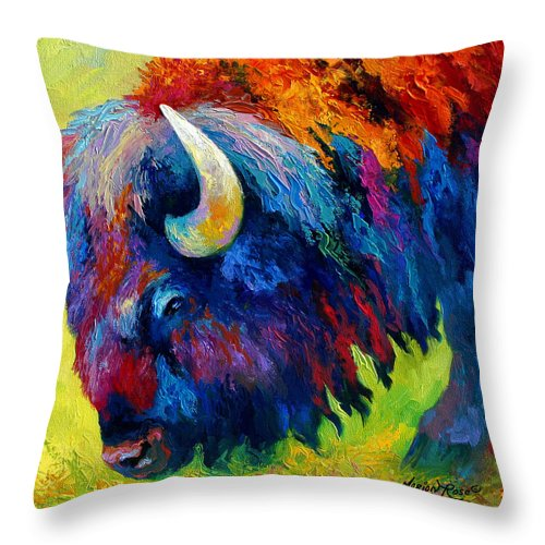 Wildlife Throw Pillow featuring the painting Bison Portrait II by Marion Rose
