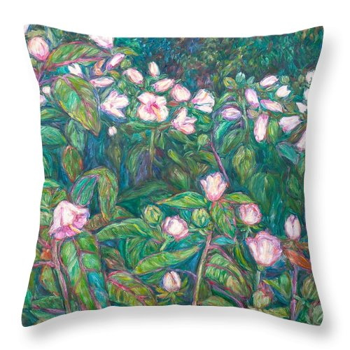 Radford City Wildflower Paintings Throw Pillow featuring the painting Bisset Park Hibiscus by Kendall Kessler