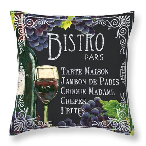 Bistro Throw Pillow featuring the painting Bistro Paris by Debbie DeWitt