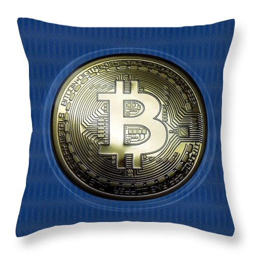 Bitcoin Throw Pillow featuring the photograph Bitcoin In Circulation by Renee Trenholm