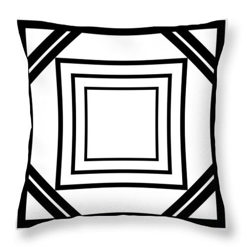 Black Throw Pillow featuring the digital art Black And White Art 175 by Ely Arsha