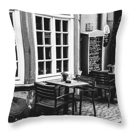 Black And White Throw Pillow featuring the photograph Black And White Cafe by Pati Photography