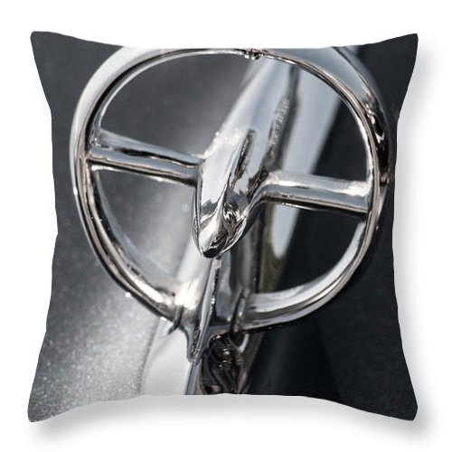 Car Throw Pillow featuring the photograph Black And White Car Logo by Don Johnson