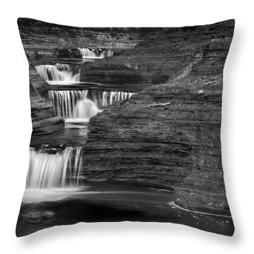 Watkins Glen Throw Pillow featuring the photograph Black And White Cascade by Bill Wakeley