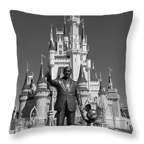 Statue Throw Pillow featuring the photograph Black And White Disney And Mickey by Kevin Fortier