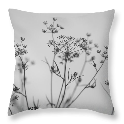 Close-up Throw Pillow featuring the photograph Black And White Floral Silhouettes by Olga Tkachenko