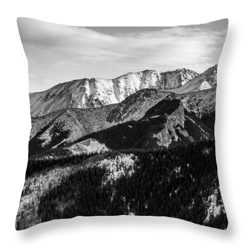 Tatry Throw Pillow featuring the photograph Black And White Mountains by Pati Photography