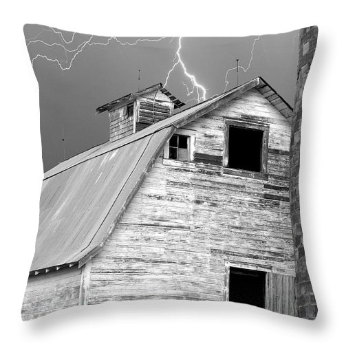 Lightning Throw Pillow featuring the photograph Black And White Old Barn Lightning Strikes by James BO Insogna