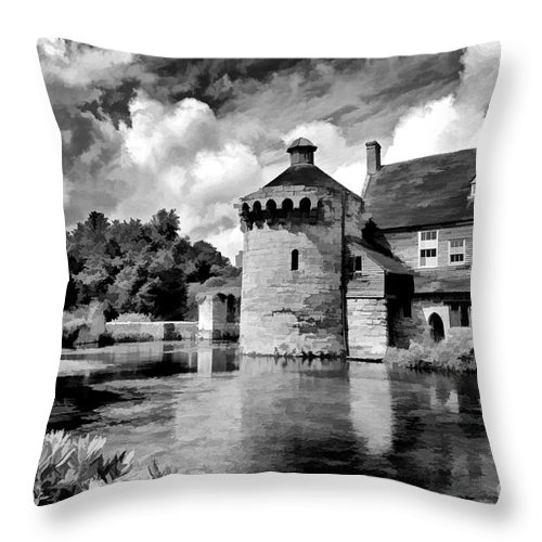 Scotney Castle Throw Pillow featuring the photograph Scotney Castle In Mono by Bel Menpes
