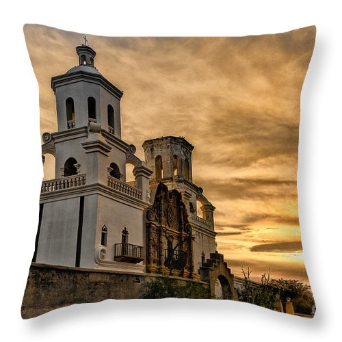 San Xavier Mission Throw Pillow featuring the photograph Black And White Sunrise Over Mission by Larry White