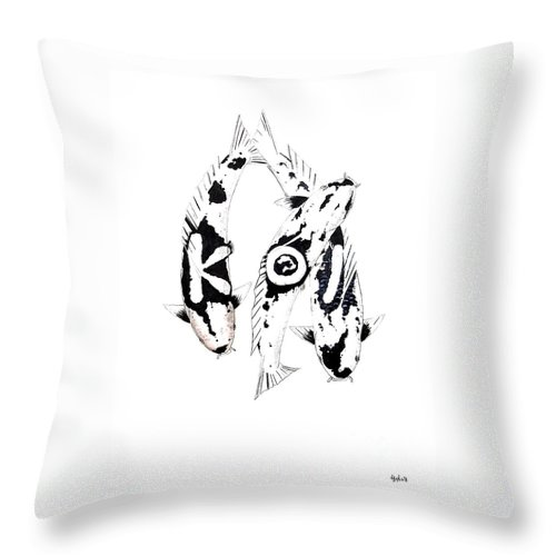 Tattoo Nishikigoi Carp Koi Paintint Art Kichi Gordon Lavender Waddinton Chinese Eight 8 Painting Japanese Koi.utsuri Mono.japan Koi.carp.black And White.kohaku.tancho.ogon.hi. Throw Pillow featuring the painting Black And White Trio Of Koi by Gordon Lavender