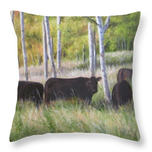 Black Angus Throw Pillow featuring the painting Black Angus Grazing by Tammy Taylor