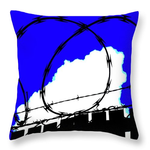 Barbed Wire Throw Pillow featuring the photograph Black Barb by John King