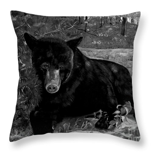 Black Bear Throw Pillow featuring the painting Black Bear - Scruffy - Black And White by Jan Dappen