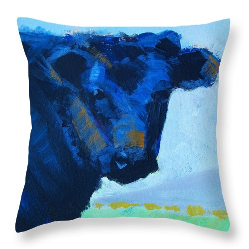 Black Throw Pillow featuring the painting Black Calf by Mike Jory