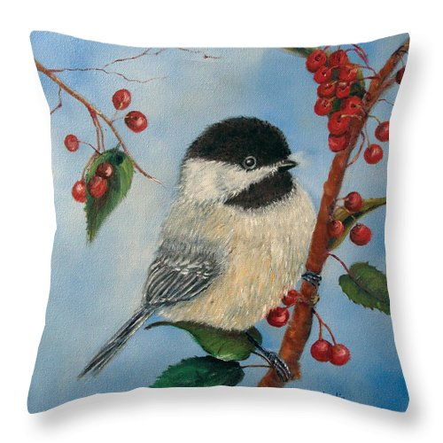 Chickadee Throw Pillow featuring the painting Black Capped Chickadee And Winterberries by Loretta Luglio