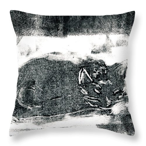 Cat Throw Pillow featuring the painting Black Cat Monoprint-2 by Janet Gunderson