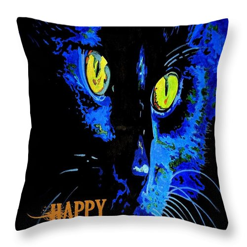 Black Throw Pillow featuring the painting Black Cat Portrait With Happy Halloween Greeting by Taiche Acrylic Art