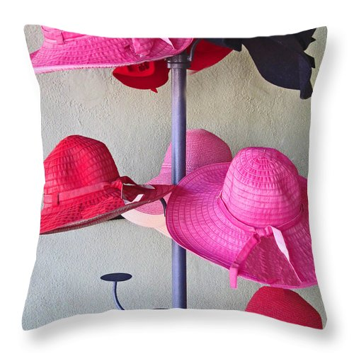 Colorful Hats Throw Pillow featuring the photograph Black Chapeau Of The Family by Rick Locke