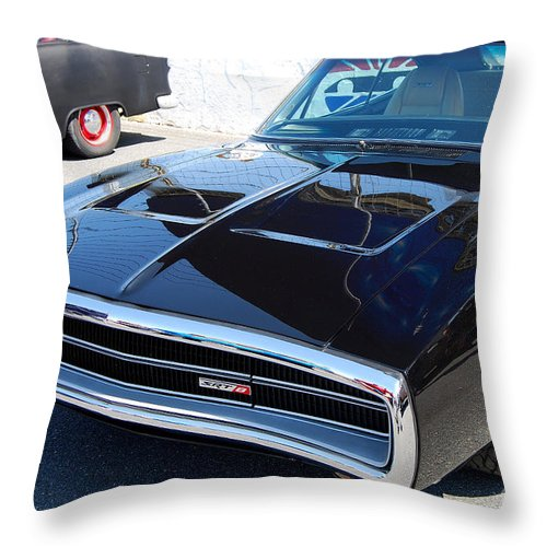 American Muscle Car Throw Pillow featuring the photograph Black Dodge Charger by Mark Spearman