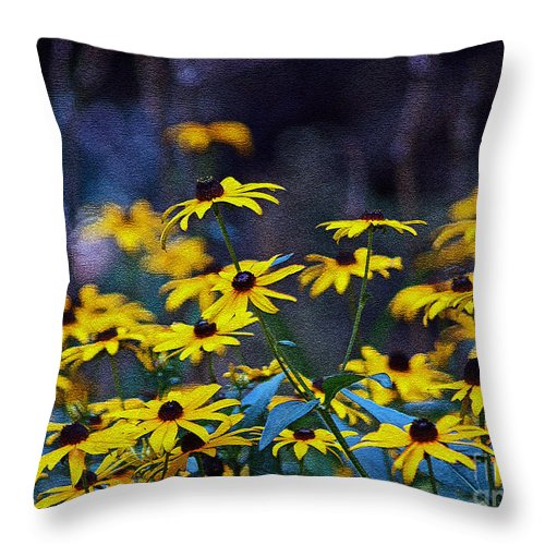 Mixed Media Art Throw Pillow featuring the photograph Black-eyed Susans by Patricia Griffin Brett