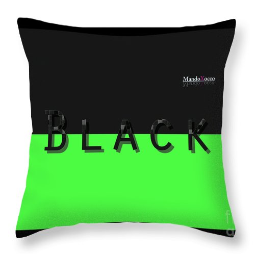 Design Throw Pillow featuring the mixed media Black Neongreen Art by Mando Xocco