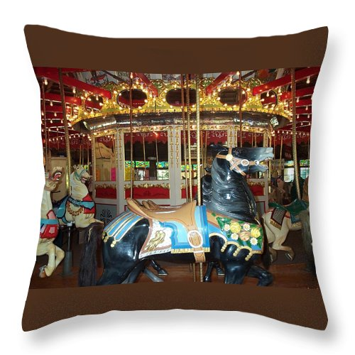 Carousel Throw Pillow featuring the photograph Black Pony by Barbara McDevitt