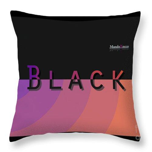 Design Throw Pillow featuring the mixed media Black Rainbow Orange by Mando Xocco