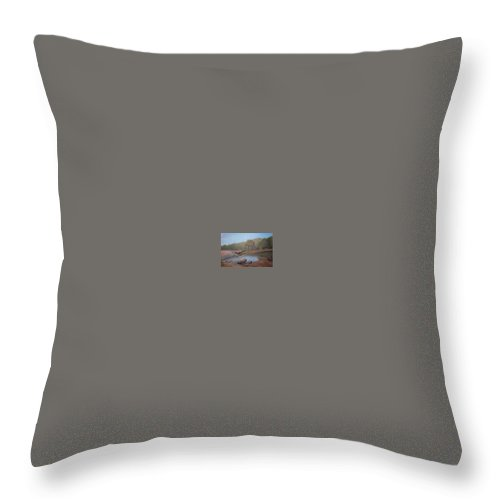 Rick Huotari Throw Pillow featuring the painting Black River Falls by Rick Huotari