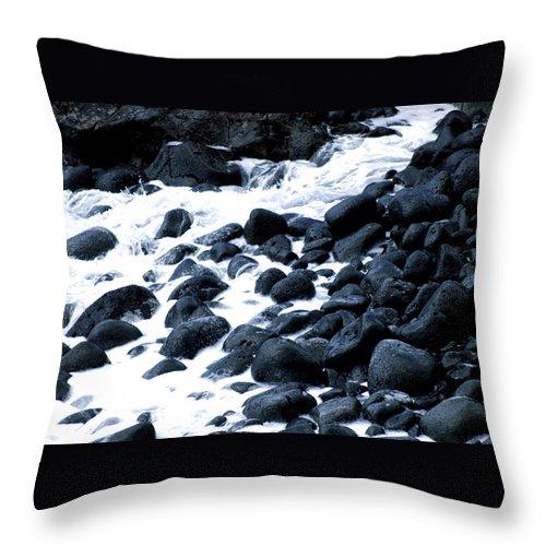 Hawaii Throw Pillow featuring the photograph Black Rocks Along The Puna Coast by Lehua Pekelo-Stearns