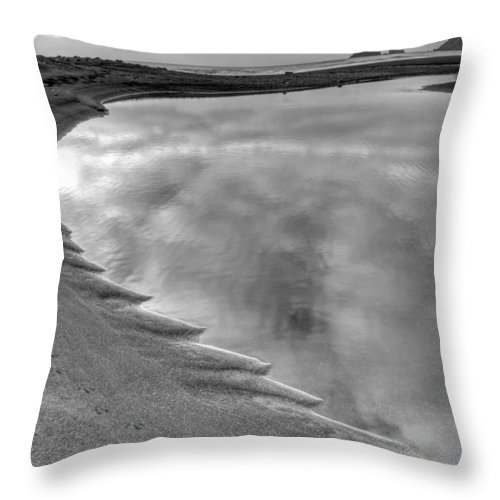 Europe Throw Pillow featuring the photograph Black Sand Icelandic Beach by Claudio Bacinello