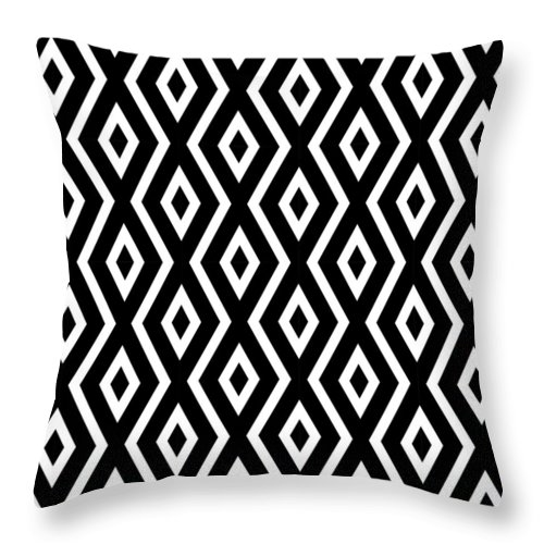 Black And White Throw Pillow featuring the mixed media Black and White Pattern by Christina Rollo