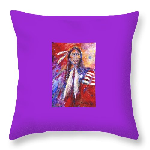 Native American Throw Pillow featuring the painting Blackfeet by Barbara Lemley
