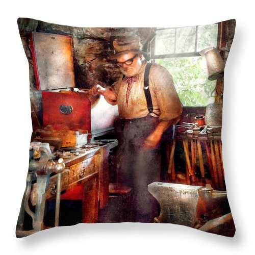 Blacksmith Throw Pillow featuring the digital art Blacksmith - The Smithy by Mike Savad