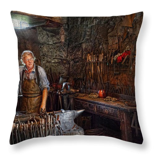 Blacksmith Throw Pillow featuring the photograph Blacksmith - Working The Forge by Mike Savad