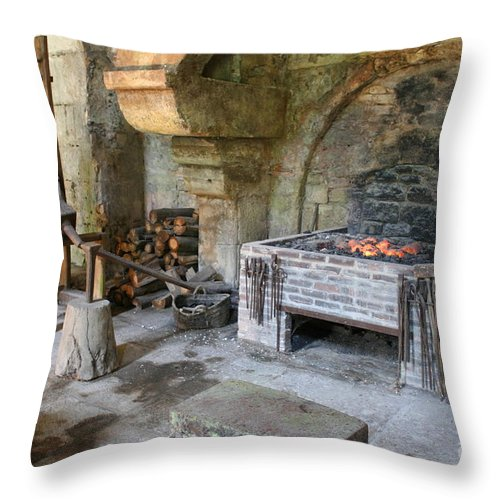 Blacksmith Throw Pillow featuring the photograph Blacksmiths Workshop by Christiane Schulze Art And Photography