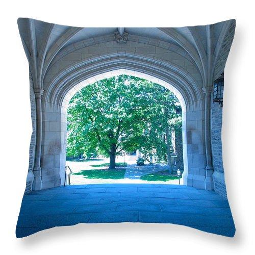 Blair Hall Throw Pillow featuring the photograph Blair Hall Arch by Lexi Heft