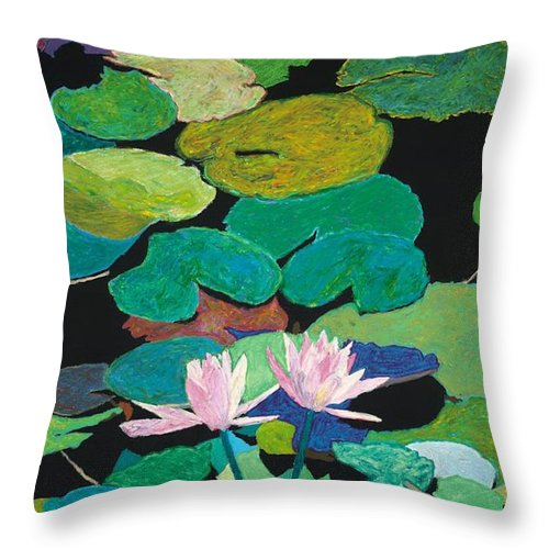 Landscape Throw Pillow featuring the painting Blairs Pond by Allan P Friedlander