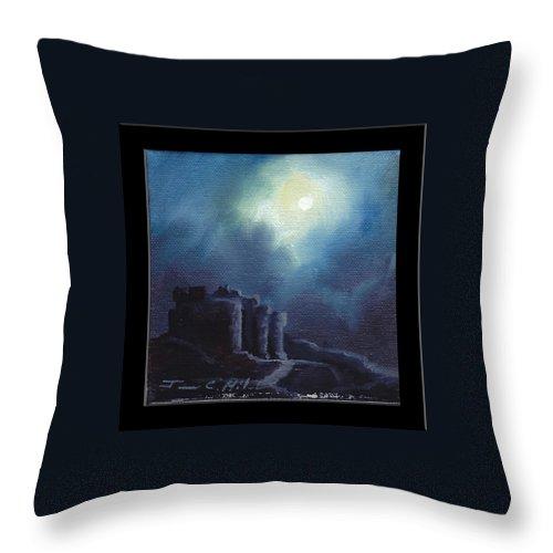 Gothic Throw Pillow featuring the painting Blarney Castle by James Christopher Hill