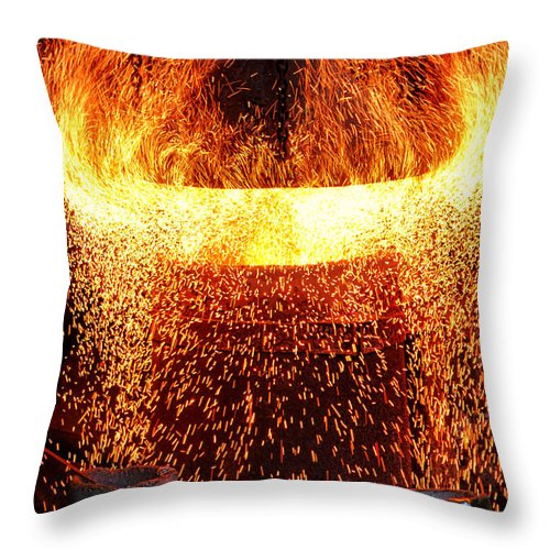 Fire Throw Pillow featuring the photograph Blast by Olivier Le Queinec