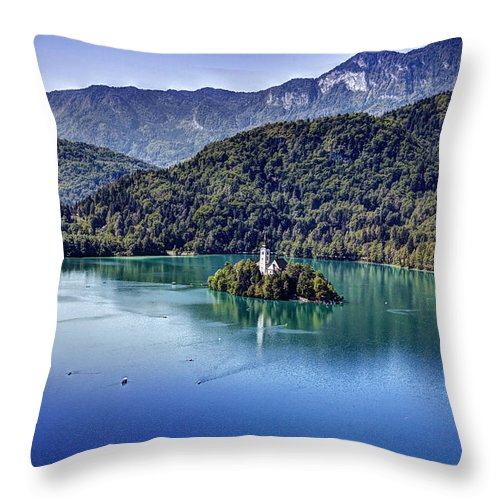 Alpine Throw Pillow featuring the photograph Bled Misty Island by Martin Joyful