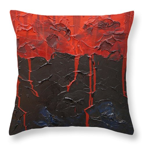 Fantasy Throw Pillow featuring the painting Bleeding Sky by Sergey Bezhinets