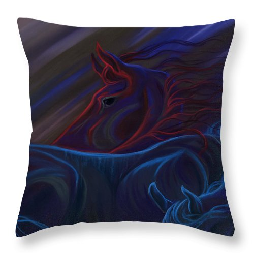 Colorful Horses Throw Pillow featuring the pastel Blended Beings by Kim McElroy