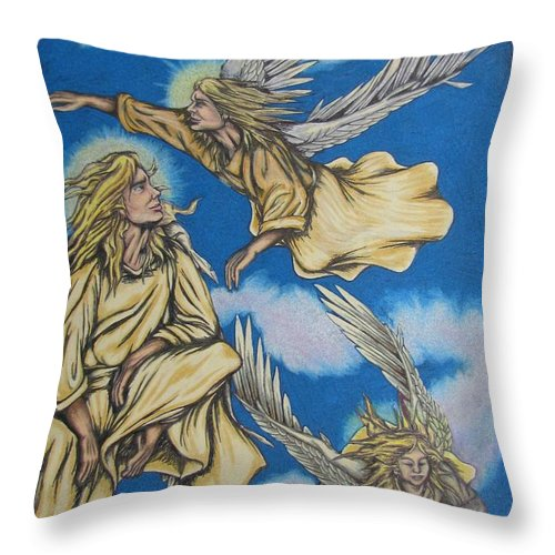 Michael Throw Pillow featuring the drawing Bliss by Michael TMAD Finney