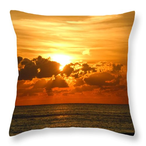 Sunset; Ocean; Gulf Of Mexico; Panama City Throw Pillow featuring the photograph Blissful Ending by Eileen Tascioglu